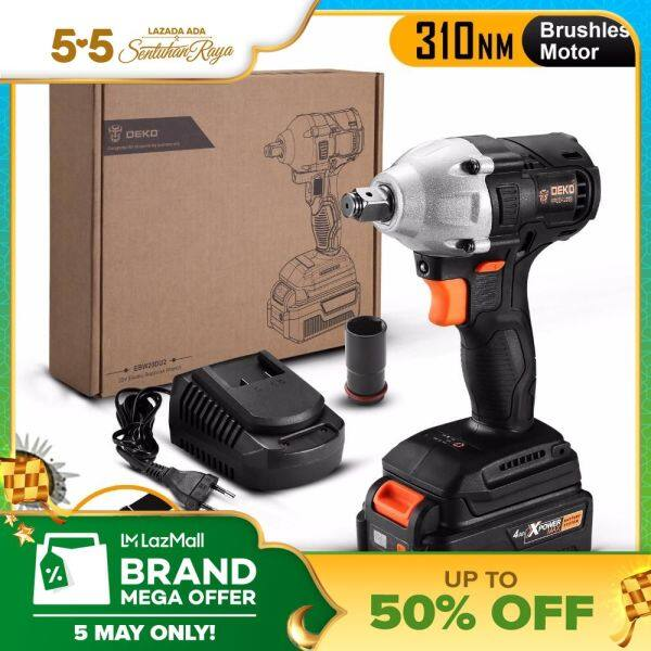 DEKO GBW20DU2 4000mAh 20-Volt Max Brushless Electric Impact Wrench Lithium-Ion B*attery 1/2-inch/13mm Chuck 2000rpm 310Nm Torque