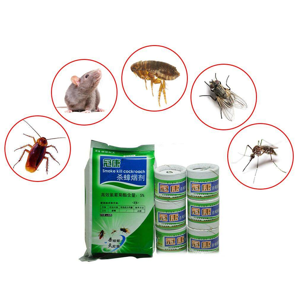 6PCS Cockroach Killer Fumigant 25G Mosquito Fly Bug Flea Killer Smoke Insecticide