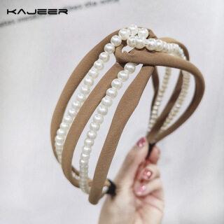 1 Chiếc Băng Đô Thời Trang Kajeer, Hàn Quốc Ngọc Trai Headband Chéo Headband, Băng Đô Nữ Hoang Dã Tinh Tế Khoét Lỗ Tóc Phụ Kiện thumbnail