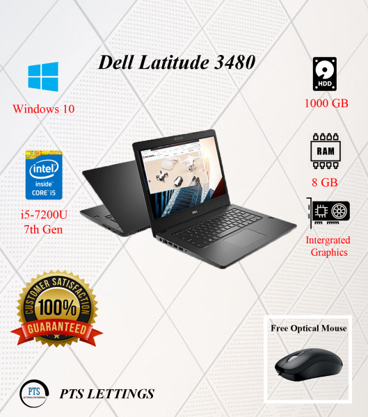 Dell Latitude 3480 Laptop - Win 10 Pro, Intel i5-7200U (2.60GHz) 7th Gen, 4GB Memory, 1.0TB Hard Disk Drive, 14 Screen, Integrated Intel HD Graphics 620 (Refurbished Grade B) Malaysia