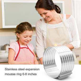 สแตนเลสพับเก็บได้วงกลม Layered มีดตัดอาหารอบอาหารชุดเครื่องมือชุดแม่พิมพ์ Slicing Mousse แหวนรูปเค้ก (6-8 นิ้ว)-