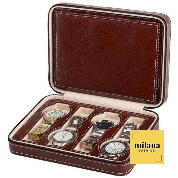 Milana 8 Slot Hard Leather Watch Travel Organizer - Mens Womens Storage Container Display Collection Case Malaysia