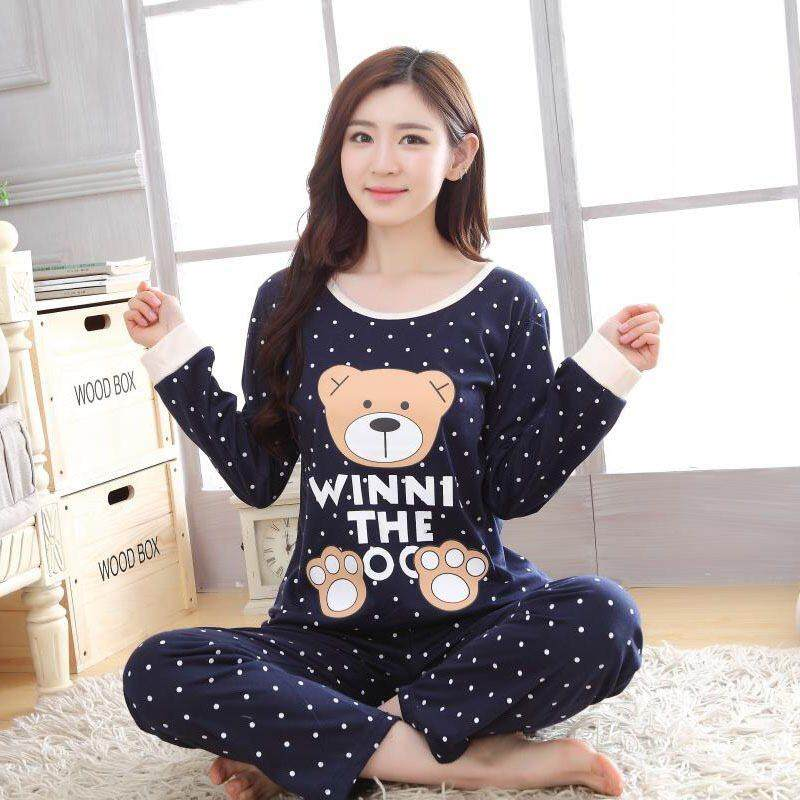 Women Ladies Cute Cartoon Comfortable Long Sleeve Pyjamas Set b8f3c3384