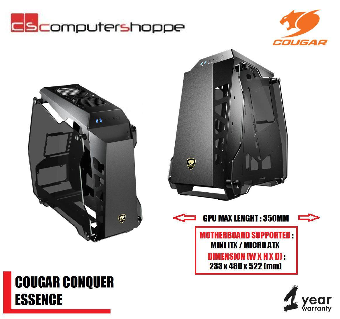 Cougar Conquer Essence Aluminium Alloy Tempered Glass Mini Tower Gaming Casing Malaysia