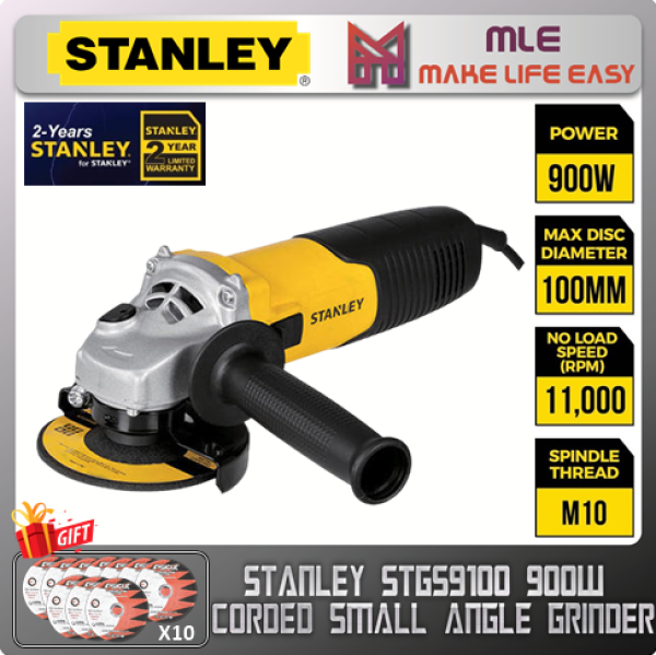 STANLEY STGS9100 SMALL ANGLE GRINDER 100MM | 900W | 11000 RPM