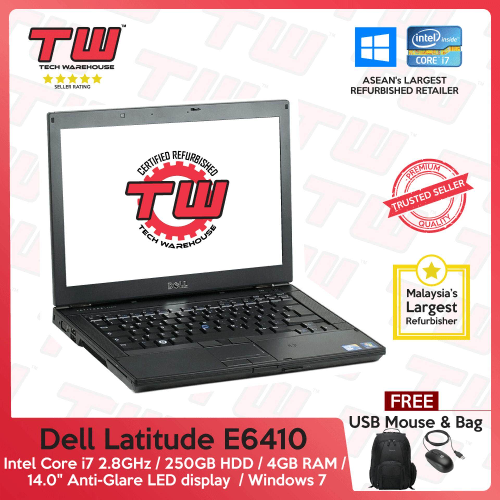 Dell Latitude E6410 Core i7 2.8GHz / 4GB RAM / 250GB HDD / Windows 7 Laptop / 3 Month Warranty (Factory Refurbished) Malaysia