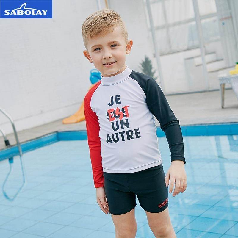58b3bfafbc3d3 SABOLAY Children Boy Long Sleeved Swimwear Diving Sunscreen UPF 50+ Wetsuit  Quick dry UV Protection