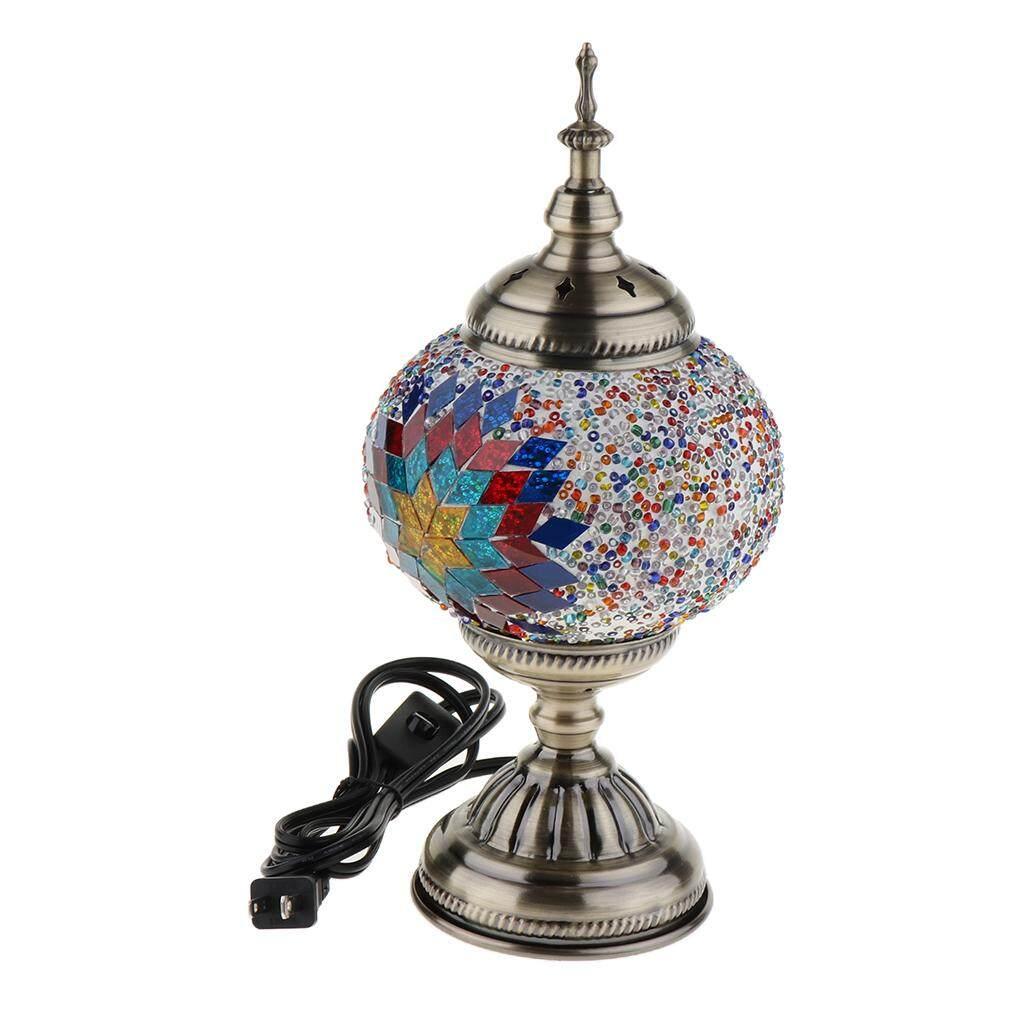 Perfk Turkish Iron Glass Table Desk Bedside Lamp Light US plug Colorful