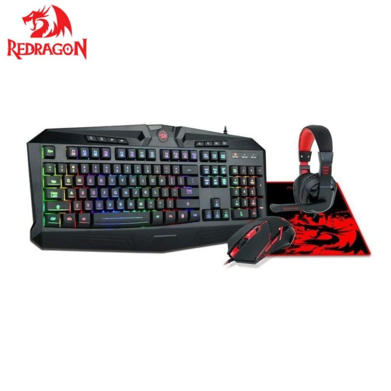 Redragon S101BA Gaming Mouse Keyboard Headset with Microphone Mouse Pad Combo Ergonomic Wrist Rest Keyboard for Windows PC Gamer Singapore