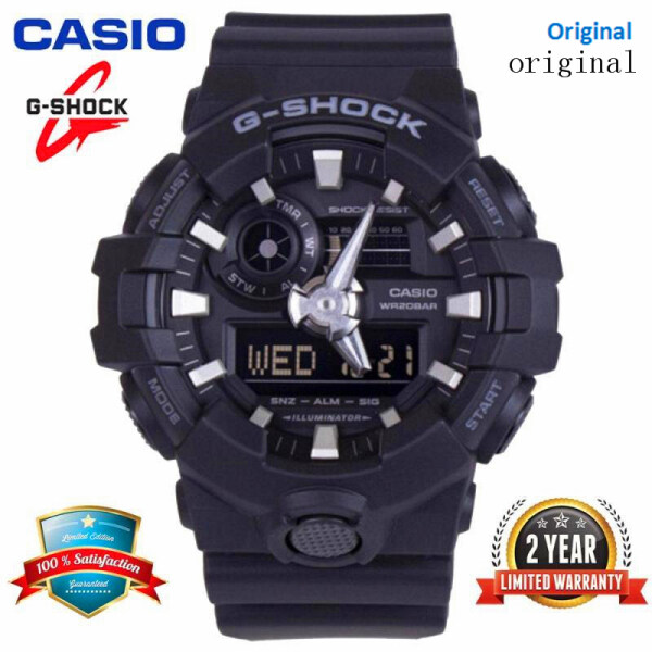 (In Stock) Original G-Shock GA700 Men Sport Watch Dual Time Display 200M Water Resistant Shockproof and Waterproof World Time LED Auto Light Chronograph Sports Wrist Watches with 2 Year Warranty GA-700-1B Black Silver Malaysia