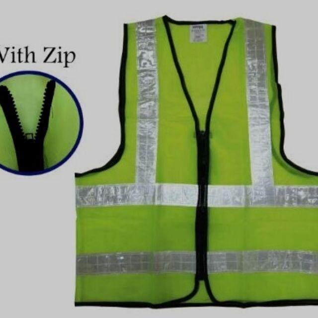 Green / Orange With White Reflective Safety Vest (ZIP)