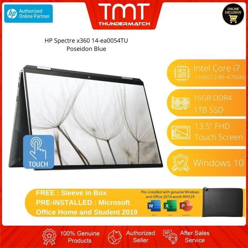 HP Spectre x360 14-ea0054TU Laptop | i7-1165G7 | 16GB(OB) 1TB SSD | 13.5FHD Touch | Free Microsoft Office and Sleeve Malaysia