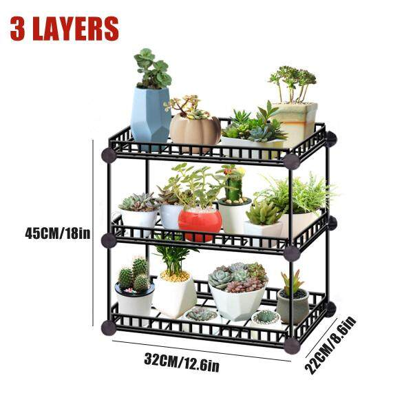 3/4/5/6 Tier Flower Pot Stand Garden Rack Plant Metal Shelf Outdoor Indoor Decor