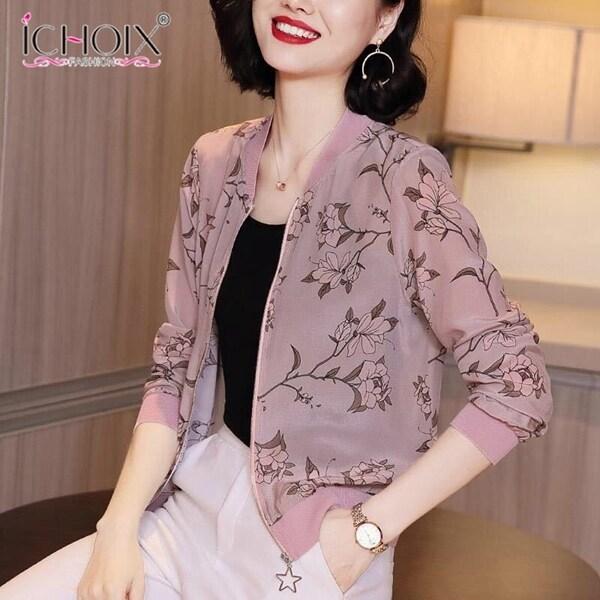 Áo khoác dài tay ichoix cho nữ, áo cardigan chống nắng, ngắn tay, họa tiết lụa mô phỏng 2020