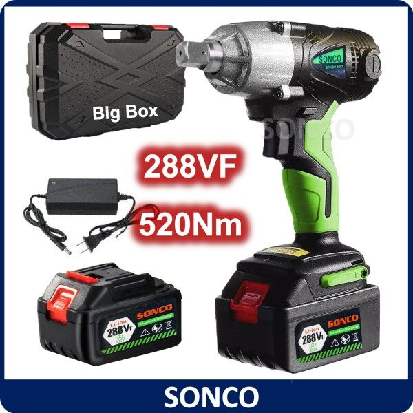 SONCO 288VF Heavy Duty 520Nm Cordless Impact Wrench Electric Impact Wrench 1/2 Inch Socket Drill Screwdriver Bateri Tool Torque Cordless Impact Wrench Brushless Motor 1/2 inch Screwdriver Driver Spanner + Accessories + Li-ion Battery Motorcycle Repair Sca