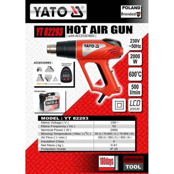 YATO YT82293 DIGITAL HOT AIR GUN WITH ACCESSORIES 2000W