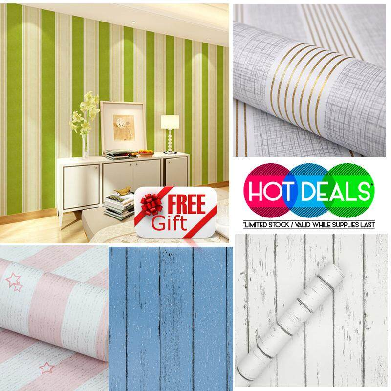 2D Design Line Style PVC Wallpaper Waterproof Sticker Diy + Free Gift