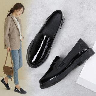 DOSREAL Giày Oxford Đối Với Phụ Nữ Da Giày Hàn Quốc Giản Dị Giày Lười Búp Bê Giày Lười Thời Trang Cao Su Phụ Nữ Da Đen Giày Cỡ Lớn 35-41 thumbnail