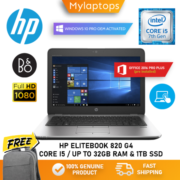 HP ELITEBOOOK 820 G4 ULTRABOOK [CORE I5-7TH GEN / UP TO 32GB RAM AND 1TB SSD] 1.2KG LIGHT WEIGHT LAPTOP / FHD IPS DISPLAY / WIN 10 PRO Malaysia