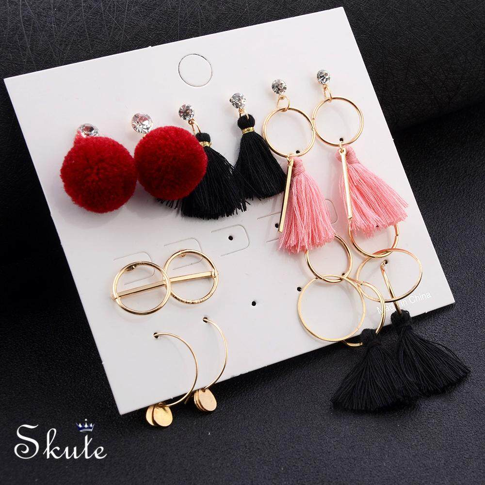 d051f9d6d ❤Skute 7 Pairs Tassel Earrings Set Cute Fur Ball Ear Studs Rings Crystal  Fashion Zircons