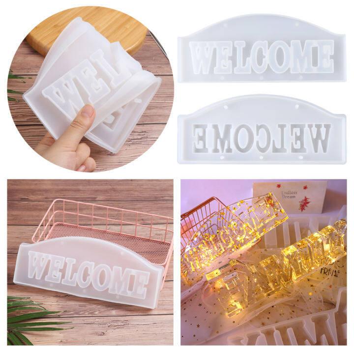 Glue House Decor DIY Crafts UV Epoxy Welcome Molds Doorplate Mold Resin Moulds