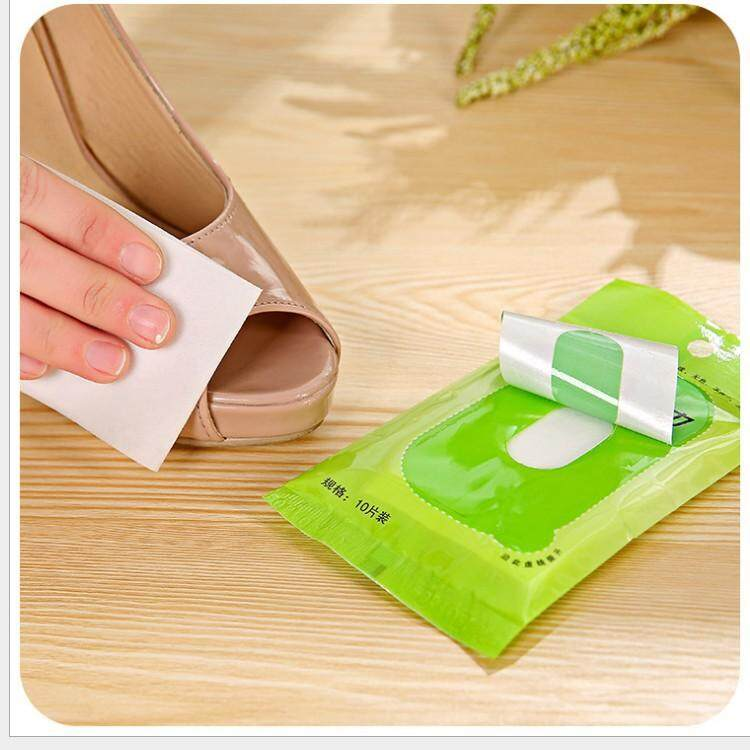 Jnan 10Pcs/Pack Cleaning and polishing cleaning shoes towel leather disposable wet wipes non-woven shoe towel Shoe Brushes Clean