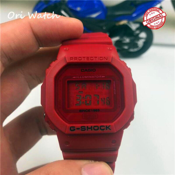 (Ready stock) Original G Shock 5600 Mens Fashion Sports Red Resin Strap Watch LCD Standard Digital Watch for men DW 200M Water Resistant Shockproof and Waterproof World Time LED Auto Light Wist Sports Watches with 2 Year Warranty Malaysia