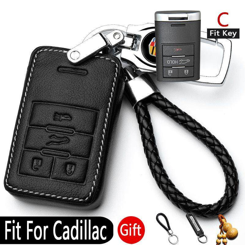 Fit for Cadillac Leather car key case Keyless Entry(C-Black and White)