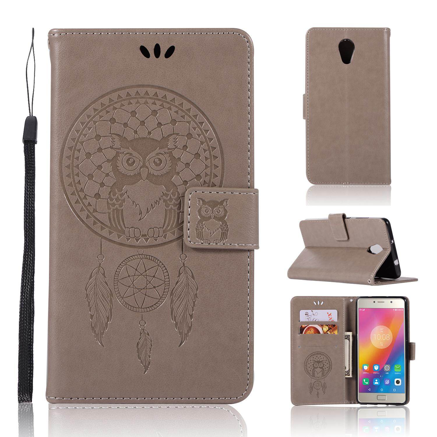 Luxury For Lenovo Vibe P2 Casing , 3d Owl Embossing Leather Folio Flip Case Cover By Life Goes On.
