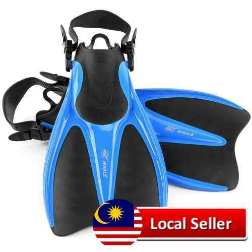 Universal Swim Fins Floating Training Fins Flippers with Adjustable Heel for Swimming Diving Snorkeling Water Sports (Blue)