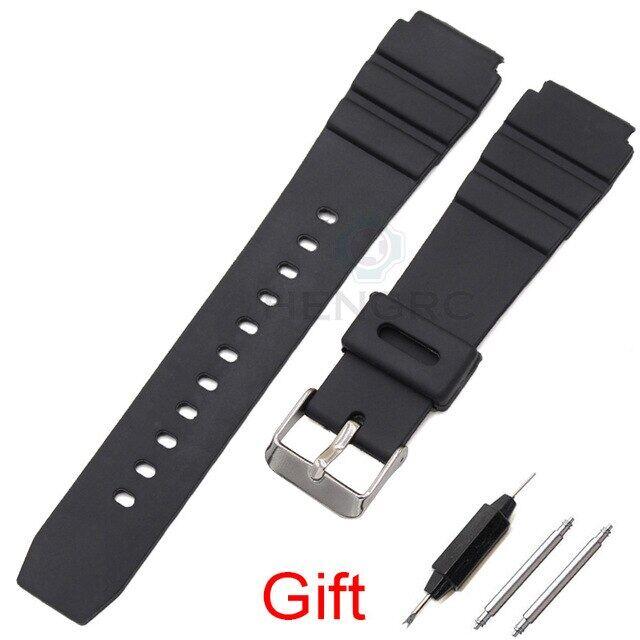 Silicone Strap Watchbands, Dây Đeo Đồng Hồ Nam Cao Su Lặn Thể Thao Màu Đen 18 20 22Mm Khóa Bằng Thép Không Gỉ Màu Bạc, Cho Casio