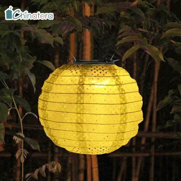 [Chinatera] Đèn LED Năng Lượng Mặt Trời 8 Inch Không Thấm Nước Trung Quốc Đèn Lồng Ngoài Trời Vườn Tròn Trang Trí Đèn Treo Cho Tiệc Nghỉ Lễ Đám Cưới