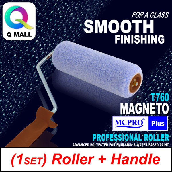 [1SET ROLLER + HANDLE] MCPRO 7 inch Premium & Professional Paint Roller Cover Refill Advanced Woven Polyester (15mm Pile Length) MAGNETO T760