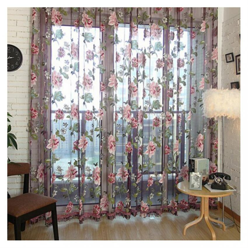 Chic Style Room Floral Tulle Voile Window Curtain Wine 100*200CM -