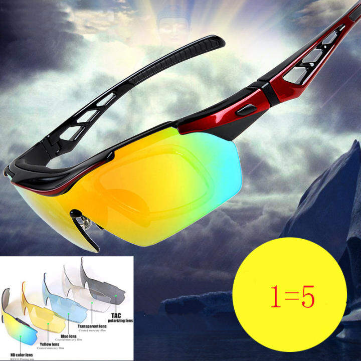 Cycling Glasses Bike Goggles UV 400 Outdoor Sports Bicycle Sunglass With 5 Interchangable