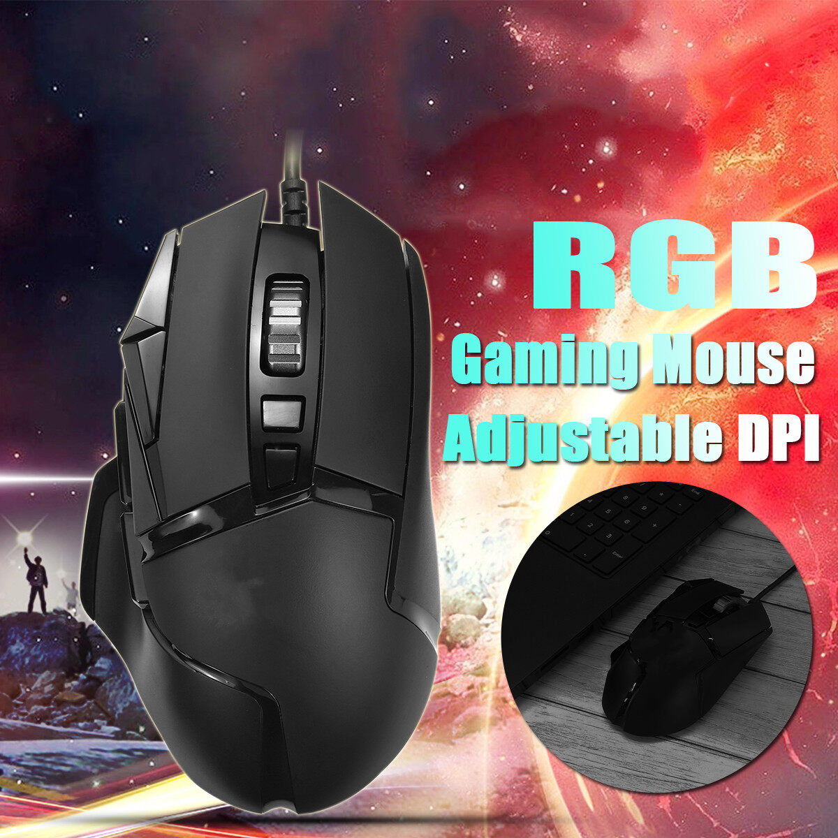 6600 Frames/Sec RGB Gaming Mouse Ergonomic Mice DPI 4 Gear Adjustable for Windows Mac Android