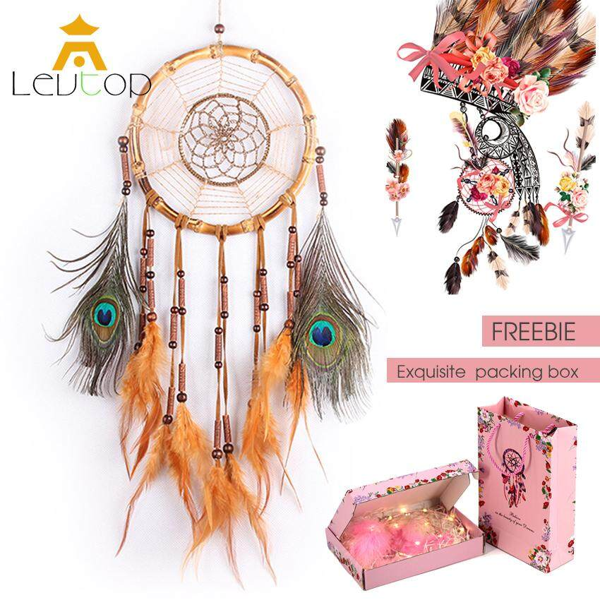 LEVTOP Handmade Dream Catcher With Peacock Feathers Car Wall Hanging Decoration Bamboo Circular Dreamcatcher Craft Net for Home Living Room