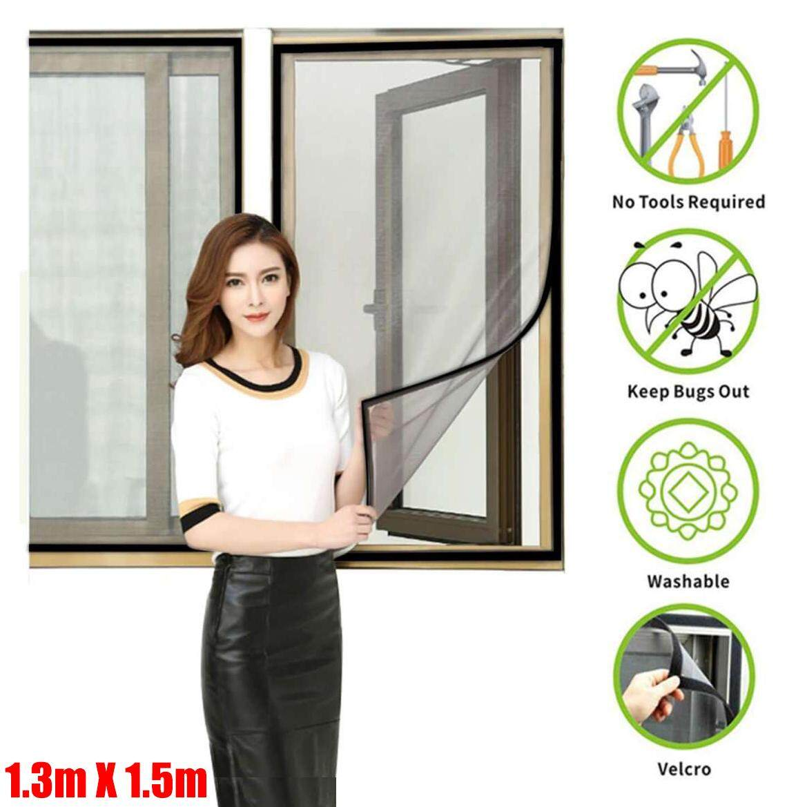 130cm*150cm  Mosquito Window Screen—DIY Customizable Adjustable Screen Window Fiber Glass Mesh Replacement Curtain Mosquito Net with Sticky Hook & Loop