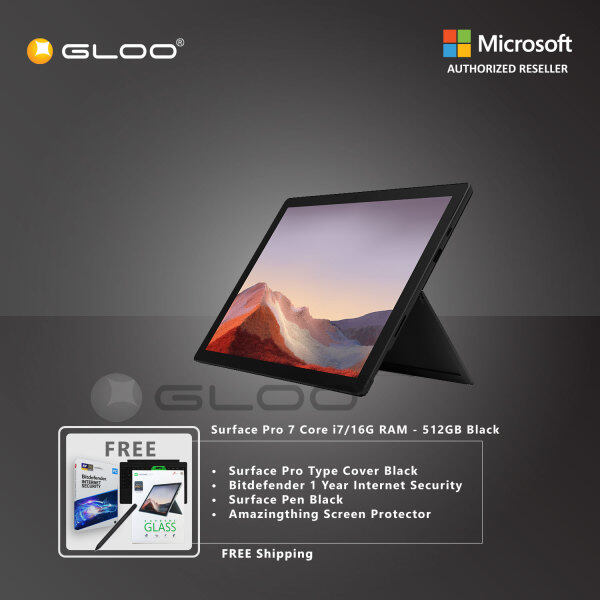 Microsoft Surface Pro 7 Core i7/16G RAM - 512GB Black - VAT-00025 + Surface Pro Type Cover [Choose Color] + Bitdefender 1 Year Internet Security + Surface Pen [Choose Color] + Amazingthing Screen Protector Malaysia