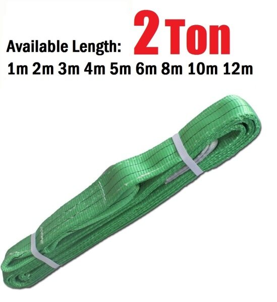 FLAT WEBBING LIFTING SLING BELT 2TON 1M 2M 3M 4M 5M 6M 8M 10M 12M (100 % HIGH tenacity Polyester)
