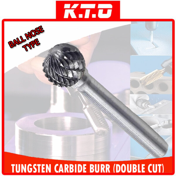 TUNGSTEN CARBIDE BURR BALL SHAPE DOUBLE CUT ROTARY BURR FILE with 6MM SHANK