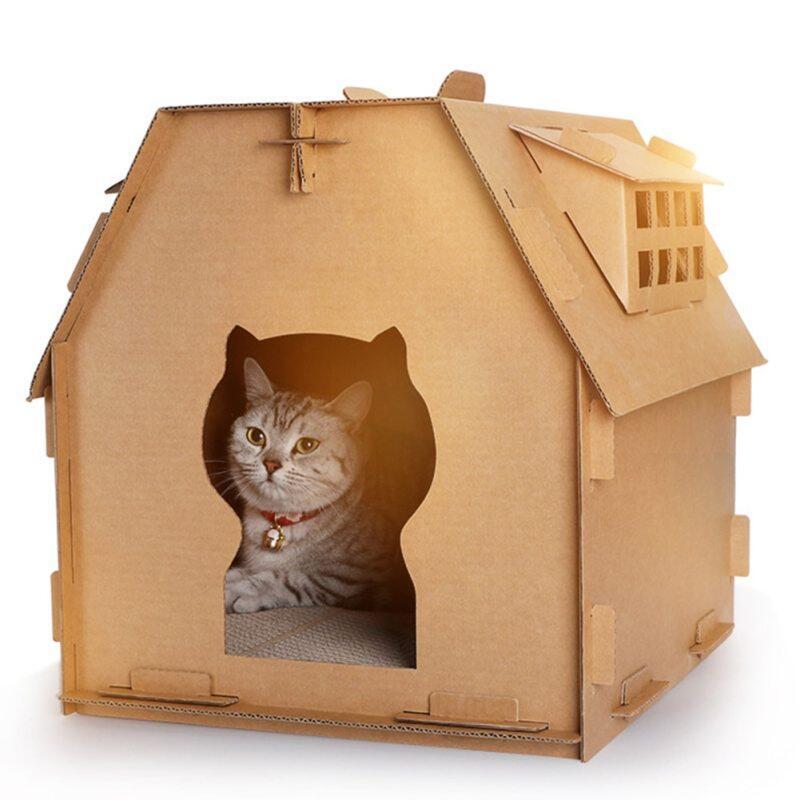 Đồ Nội Thất Cho Thú Cưng Tự Làm Hộp Các Tông Nhà Cho Mèo Có Cửa Sổ Nhỏ Công Cụ Bàn Cào Móng Cho Mèo Cưng Tự Lắp Ráp Kitten Trong Nhà Giấy Gợn Sóng Đồ Chơi