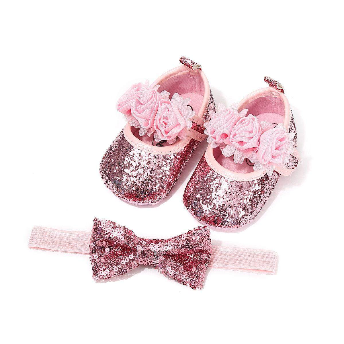 42c358041 Newborn Infant Baby Girls Boys Summer Crib Shoes 3 Style Sequined Floral  Flat Hook Princess Shoes