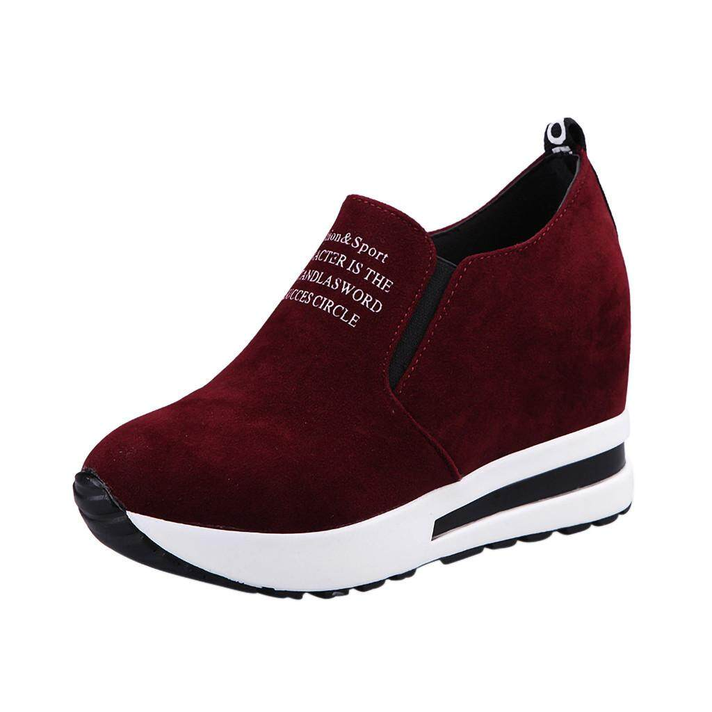 Guo Women Fashion Casual Flock Slip-On Thick Platform Sport Sneakers Wedges Shoes By Hongshouguostore.