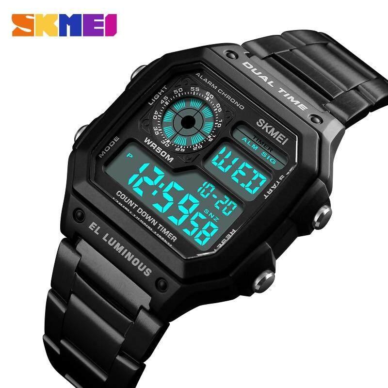Skmei แฟชั่นสุดหรูนาฬิกาสปอร์ตผู้ชาย 5bar นาฬิกากันน้ำสแตนเลสสายคล้องนาฬิกาดิจิทัล 1335 By Ze Long Bei Mall.