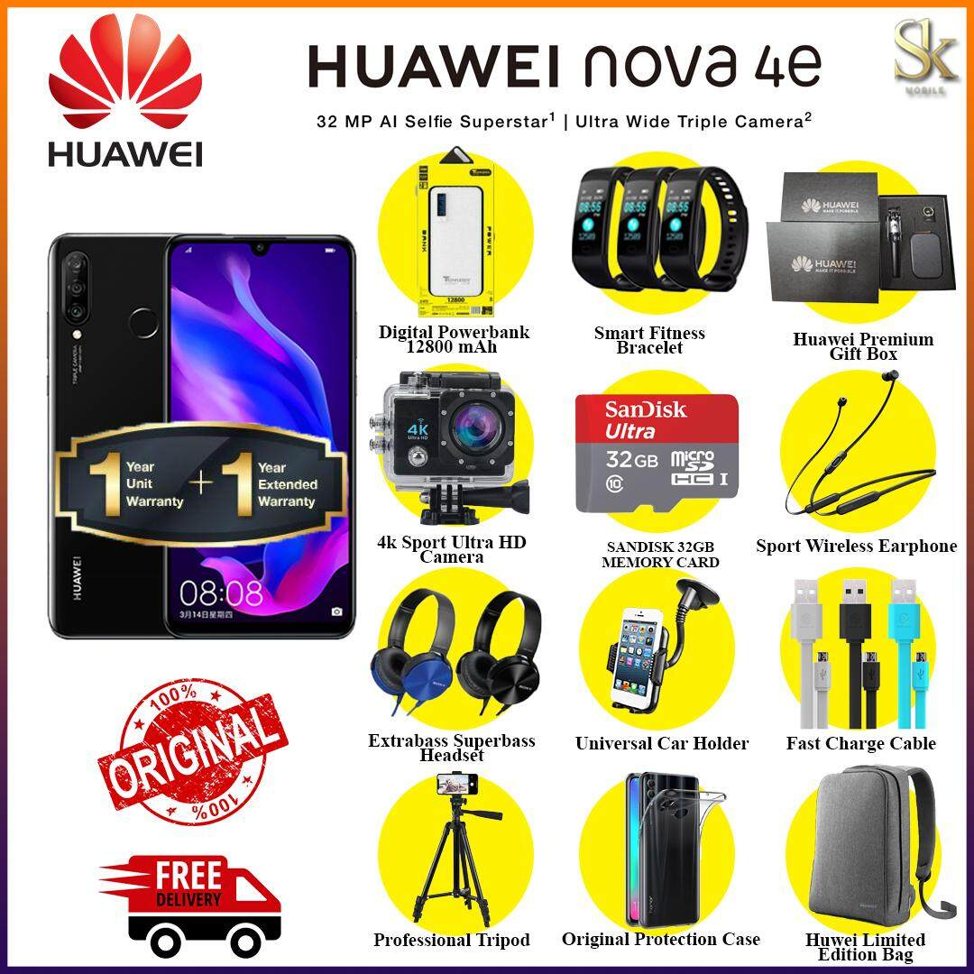 (2 Years Warranty)Huawei nova 4e(6GB RAM + 128GB ROM) - Original Malaysia  Set