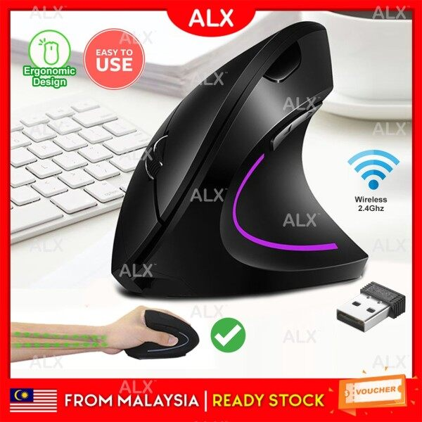 ALX Malaysia Rechargeable 2.4G Wireless Ergonomic Vertical Mouse 1600 DPI Optical Computer Laptop Mouse Malaysia