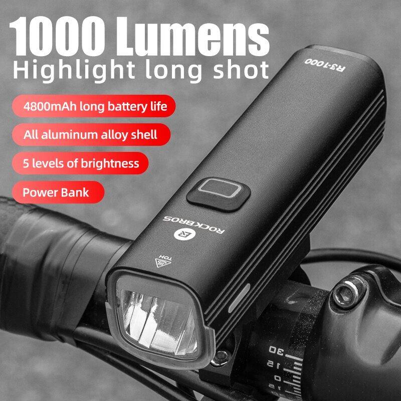 Xe Đạp Ánh Sáng, Đèn Pha Xe Đạp 1000Lumen 4800MAh, Tay Cầm Đèn Pin Sạc Dự Phòng USB Sạc MTB Đường Đi Xe Đạp Làm Nổi Bật