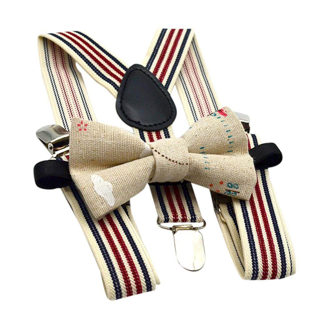 Lion Kids Baby Boys Party Matching Braces Suspenders and Luxury Bow Tie Set