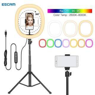 ESCAM , RMD-11 Vòng Đèn Selfie Có Thể Điều Chỉnh Độ Sáng 12 Inch Giá Đỡ Điện Thoại Ba Chân RGB, Đèn Lấp Đầy Chụp Ảnh Đầy Màu Sắc thumbnail